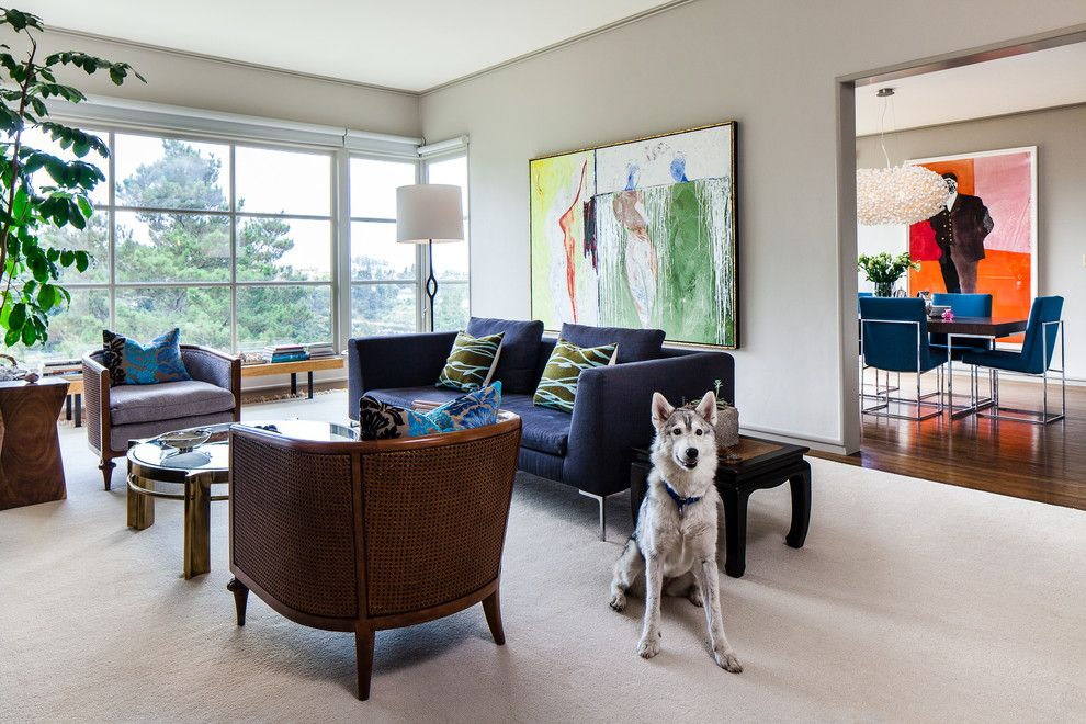 Living Room Contemporary With Light Gray Walls Next To Blue Couch