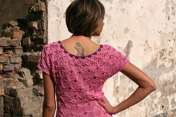 Boho dress Pink dress Summer dress Womens by Gitasknitwear