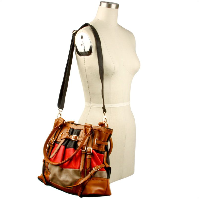 Oversized Satchel with Color Blocking Stripes. I MUST have this bag, so cute! It also comes in Turquoise, Yellow & Cream!!!!!