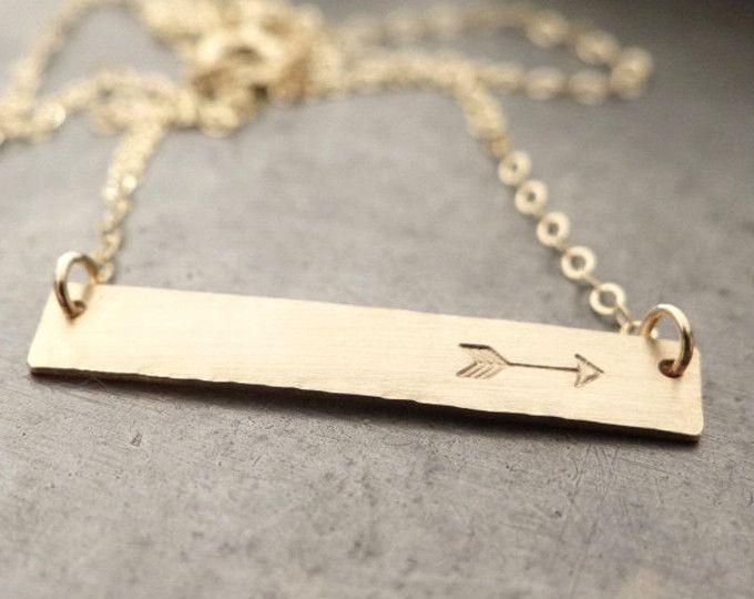 Gold Bar Necklace with Arrow Hand Stamped Jewelry Minimalist 14k