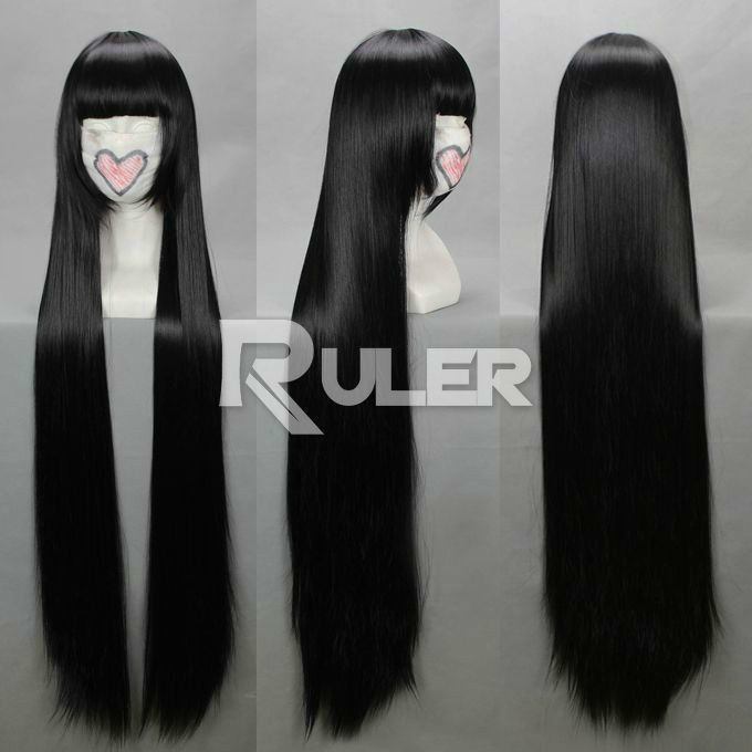 80cm X Long Anime Bleach Kurotsuchi Nemu Black Straight Cosplay Wig Cos 036t Wigs Cosplay Wig Hairstyles
