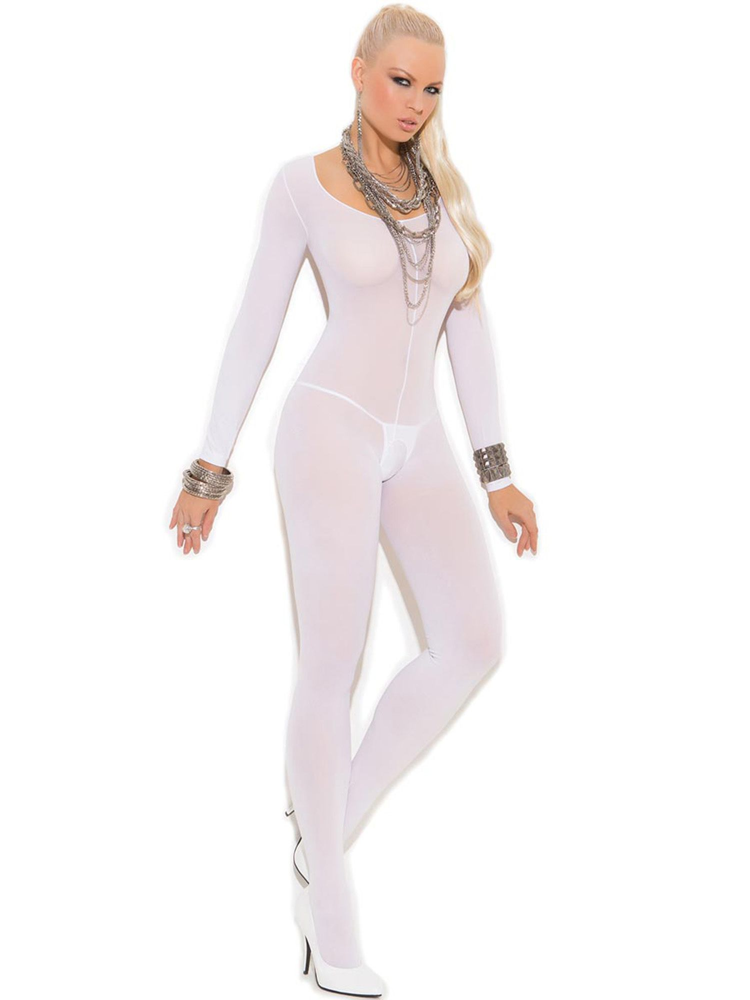 31f9f9af33 Womens Plus Size Full Figure Opaque Long Sleeve Open Crotch Bodystocking  Hosiery#Figure#Opaque#Full