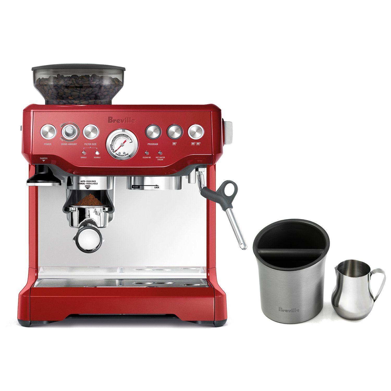 Breville Barista Express Cranberry Red Espresso Machine With Knock Box And 19 Ounce Milk Steamer Jug Read More Revie Espresso Machine Coffee Store Espresso