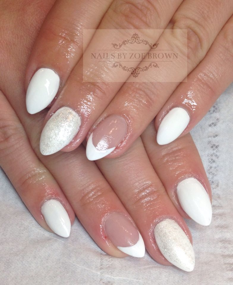 Pointed acrylic nails extensions with vinylux cream puff, glitter ...