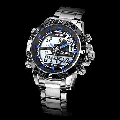 mænds analog-digital multi-funktionelle sorte ansigt sølv stålbånd armbåndsur (assorterede farver) – USD $ 36.99