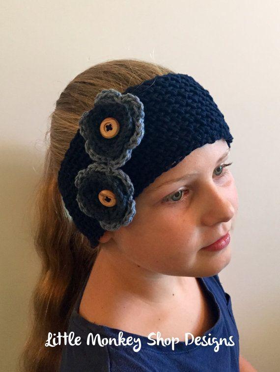 Crochet PATTERN Flower Ear Warmer - girls headband - crochet pattern ...