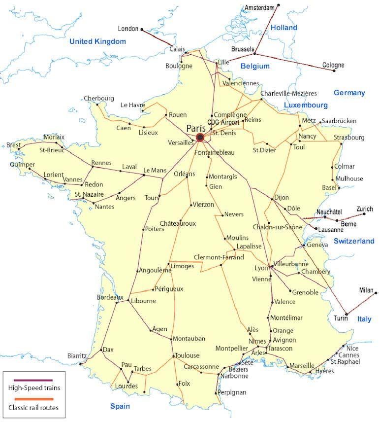 France railway map of French train system The largest station is