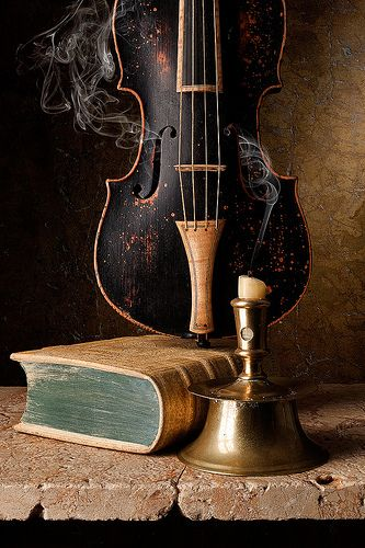 Violin Book And Candle Violin Music Art Still Life