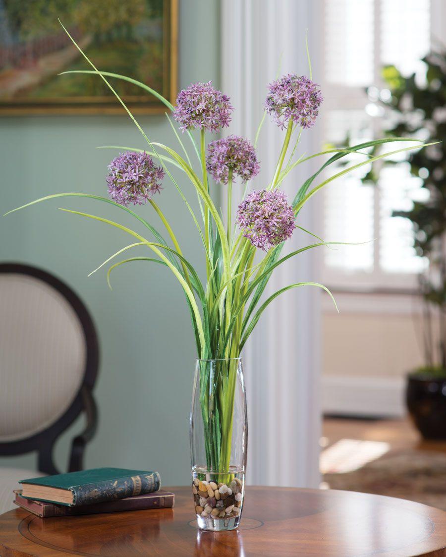 Silk Allium Grass Arrangement Flower Vase Arrangements Tall Flower Arrangements Artificial Flower Arrangements