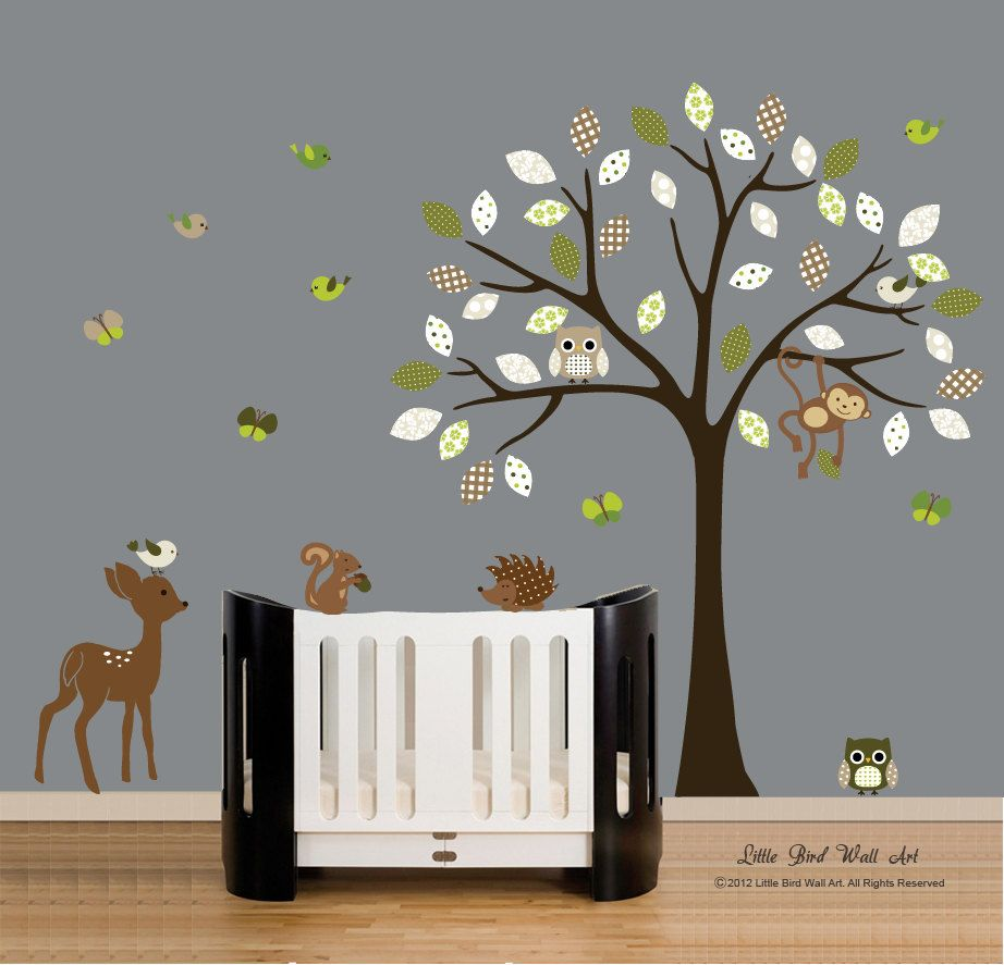Wall decals vinyl wall decal tree owl forest animals nursery wall art. $115.00 via  sc 1 st  Pinterest & Wall decals vinyl wall decal tree owl forest animals nursery wall ...