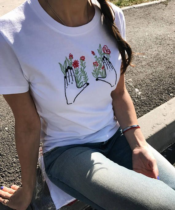 b4672e33d Embroidered t-shirt, Hand embroidery, White t shirt, embroidered shirt, embroidered  tee, Floral embr