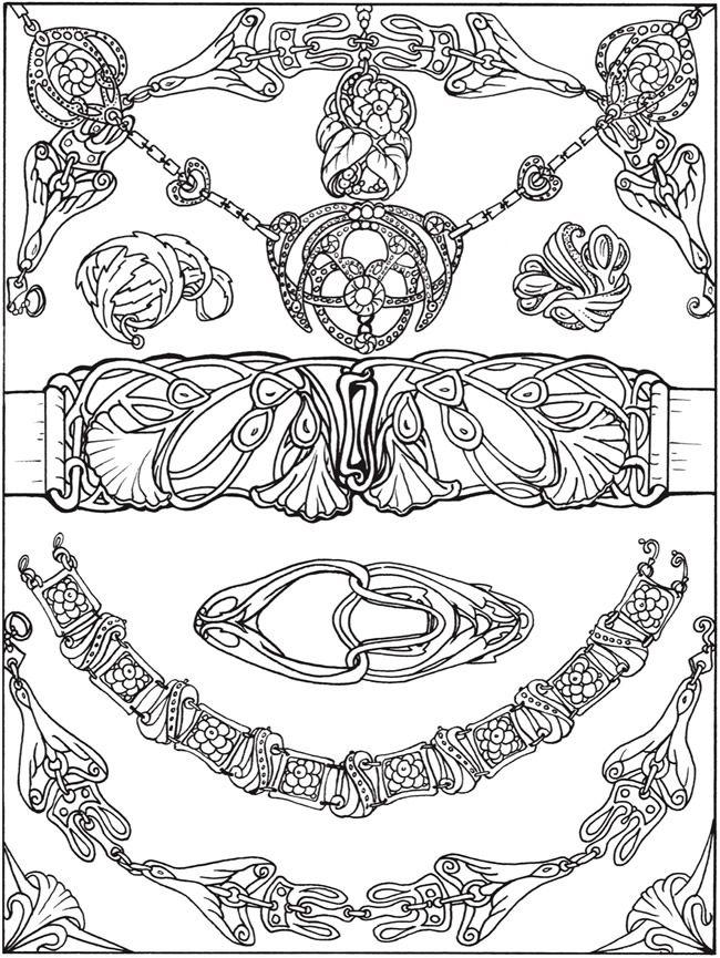 printable coloring page by Dover Publications art nouveau