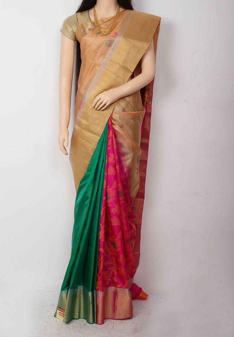 26764bf1f28 Golden Sandal Colored Partly Designed Pure Soft Silk Saree with Big Tissue  Border and Pink Colored