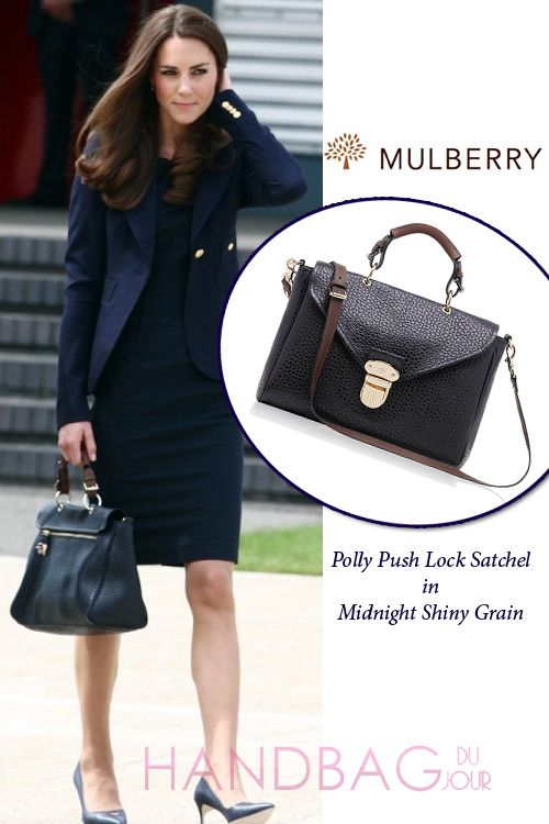 Kate Middleton Carries Mulberry Polly Push Lock Satchel Bag In Midnight Shiny Grain Looked It Up And Its 4500pounds Which Comes Out To 7000dollars