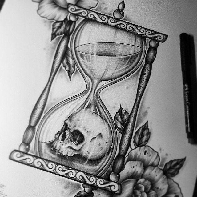 Reloj De Arena Calavera Flor Tatuaje Reloj De Arena Tatuajes