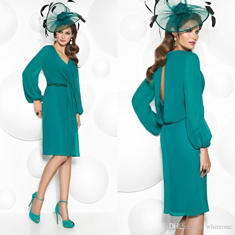 Mother Of The Bride Pant Suits Vintage Hunter Green Short Mother Of The Groom Bride Dress For Wedding 2016 Long Sleeves Sheath Knee Length Beaded Women Formal Evening Gown Mother's Suit From Whiteone, $115.31| Dhgate.Com