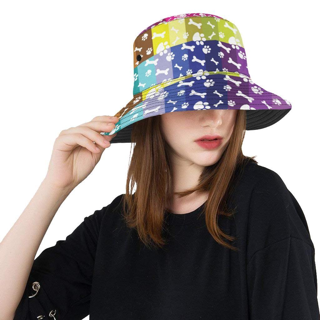 08hat Paw Print Bucket Hat B Baydepot Print Design Pattern Boho Patterns Unique Hats
