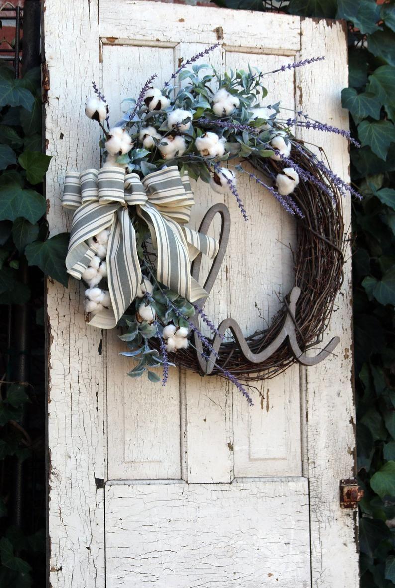 Spring Wreath For Front Door Farmhouse Wreath Rustic Cotton Etsy Farmhouse Wreath Year Round Wreath Wreaths For Front Door