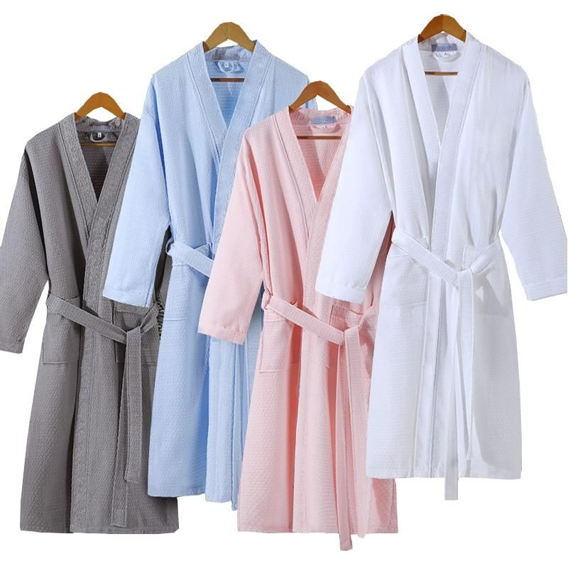 0bfcba4e3e On Sale Men Summer Suck Sweat Elegant Kimono Bath Robe Male Spa Waffle  Bathrobe Plus Size Lounge Robes Sexy Mens Dressing Gown