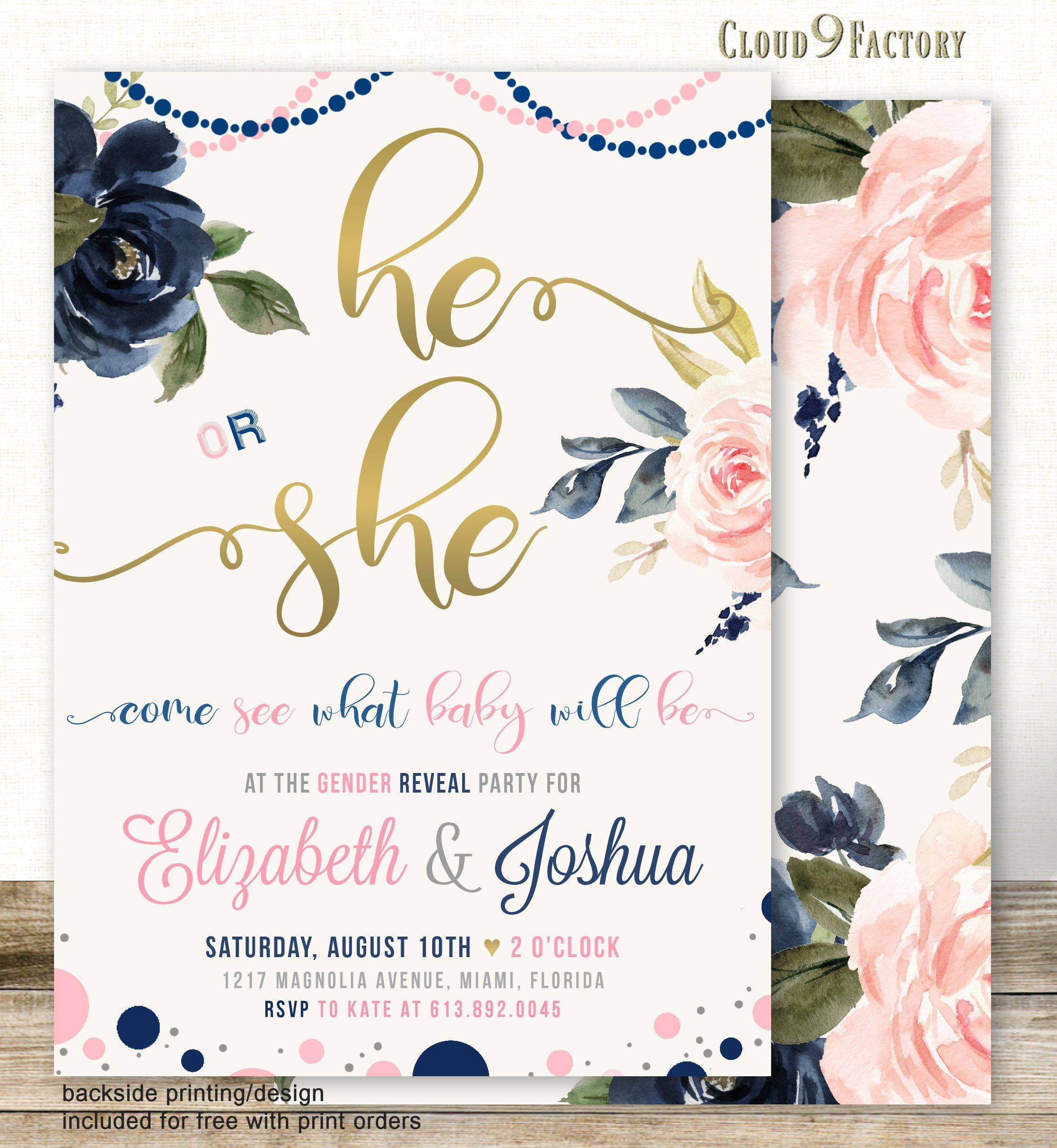 Reveal Party Invitation Gender Reveal Invite Boy Or Girl Gold Pink Or Blue Blush Pink and Navy Floral Hot Air Balloon He Or She