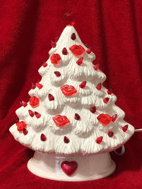 Ceramic Milk Glass Glazed Mantle Valentines Tree With Bulbs Etsy In 2020 Valentine Tree Christmas Tree Shop Ceramic Christmas Trees