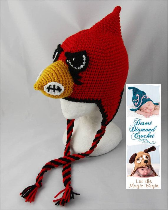 61515ef8606 Crochet Pattern 056 - University of Louisville Cardinal Hat ...