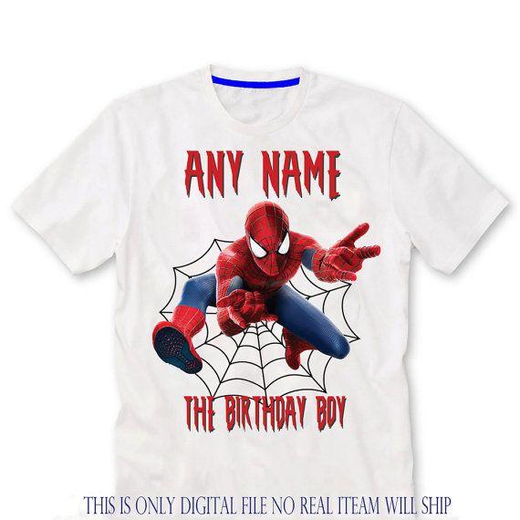 25bdf261a ANY NAME Spider man Birthday Shirt iron on transfer Man Birthday, Birthday  Shirts, Minion