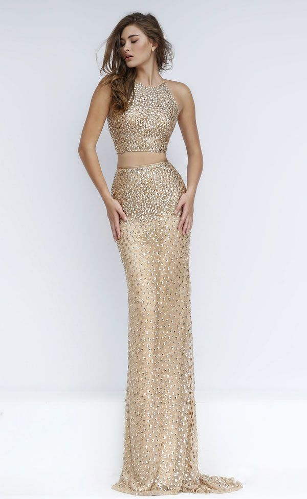 brilliant beaded crew neck sheath long two piece gold prom dress ...