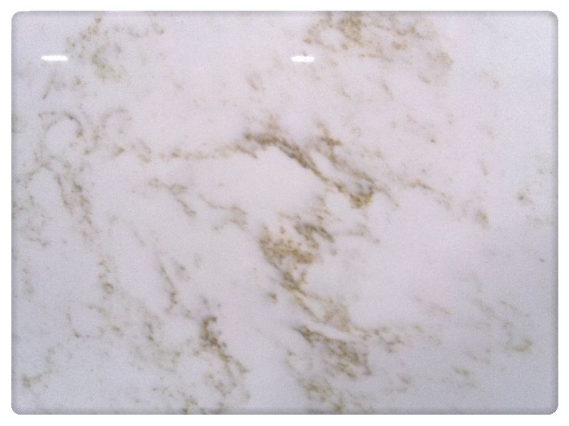 "Closeup on ""Calcutta Gold"" quartz counter top from QUARTZ"