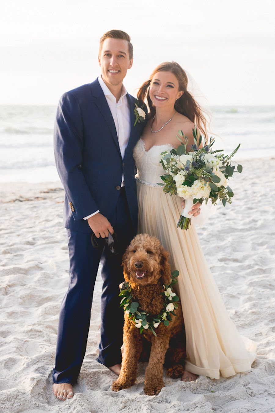 6f90797190 Outdoor, Florida Beach Waterfront Bride and Groom Wedding Portrait with Pet  Goldendoodle | St. Petersburg Wedding Photographer Grind and Press  Photography