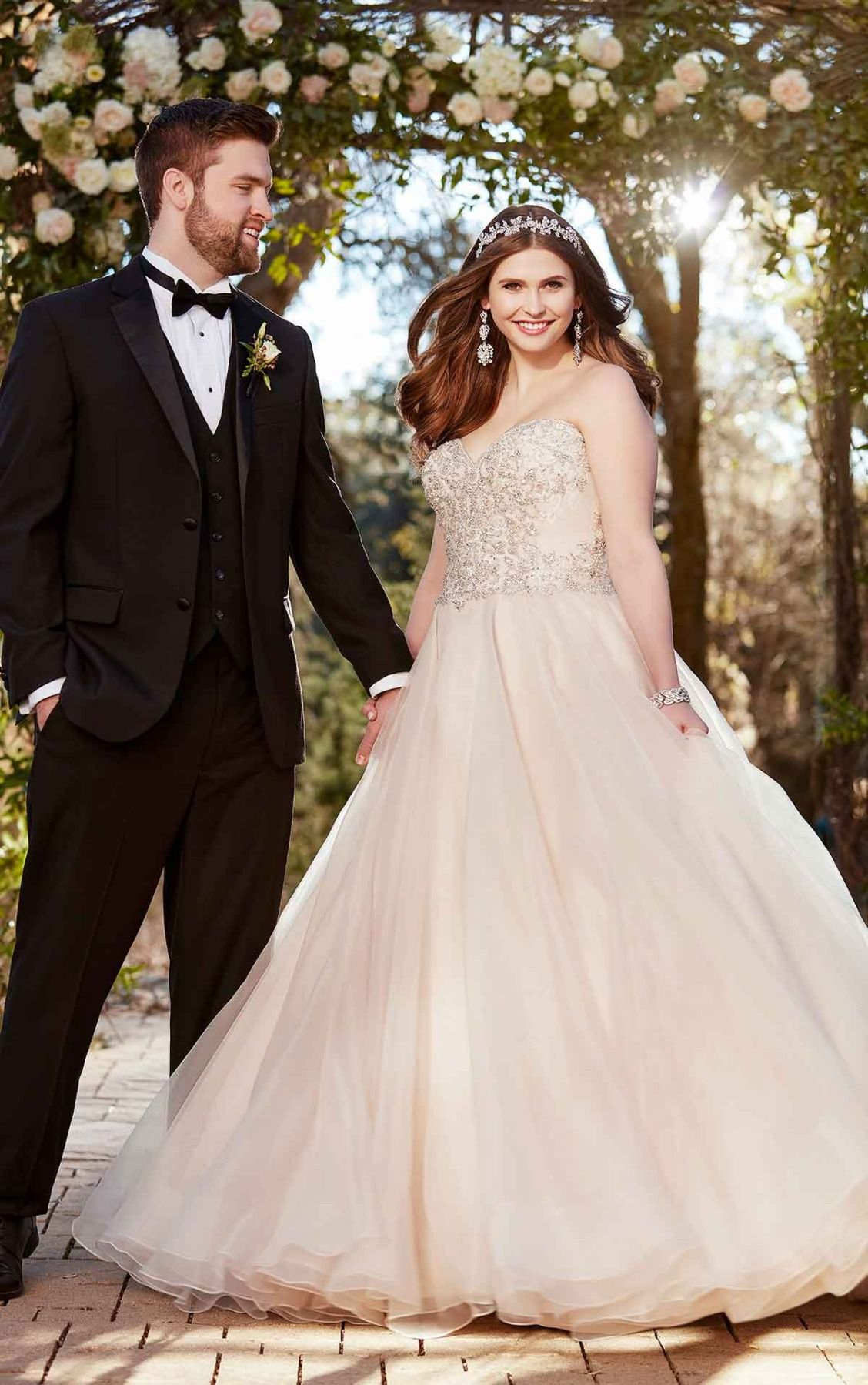 Silver wedding dresses plus size  Plus Size Strapless Fit and Flare Wedding Dress  Pinterest  Ball