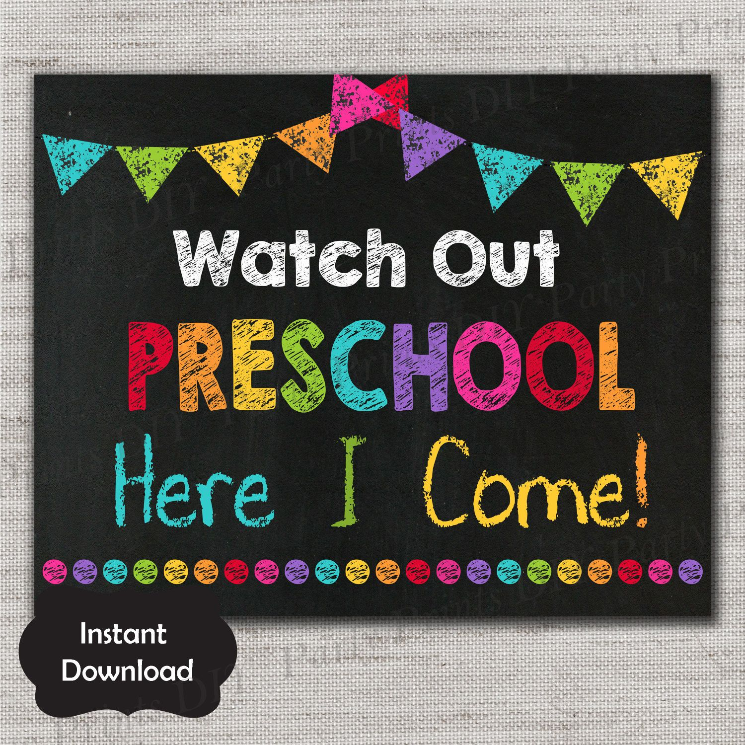 It's just a graphic of Challenger First Day of Preschool Sign Printable