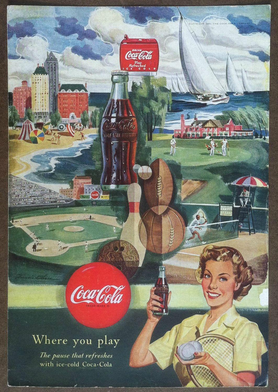 Vintage ad - Coke sports theme ad - 1950