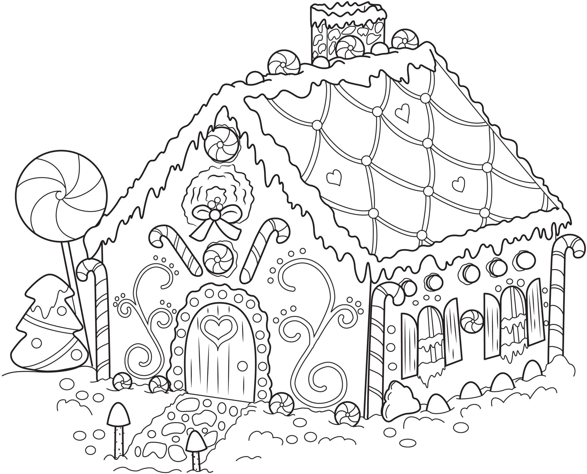 Gingerbread House Coloring Pages Pencil 369154 Jpg 2 000 1 616