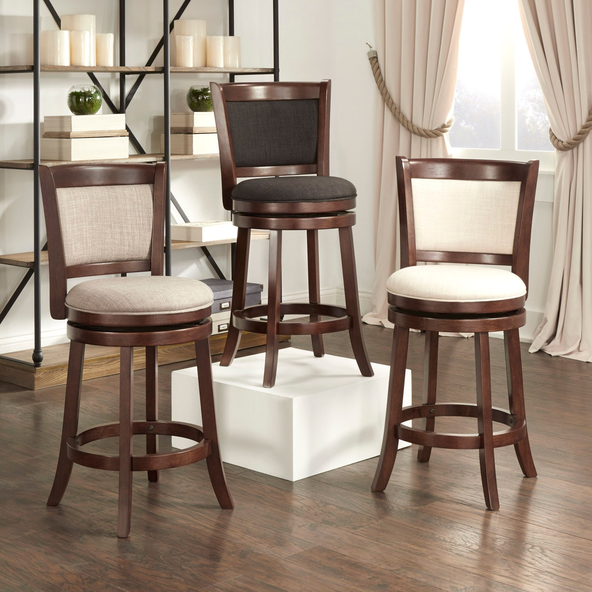24 inch counter chairs french dining melbourne verona panel back linen swivel height stool by tribecca home gray grey wood