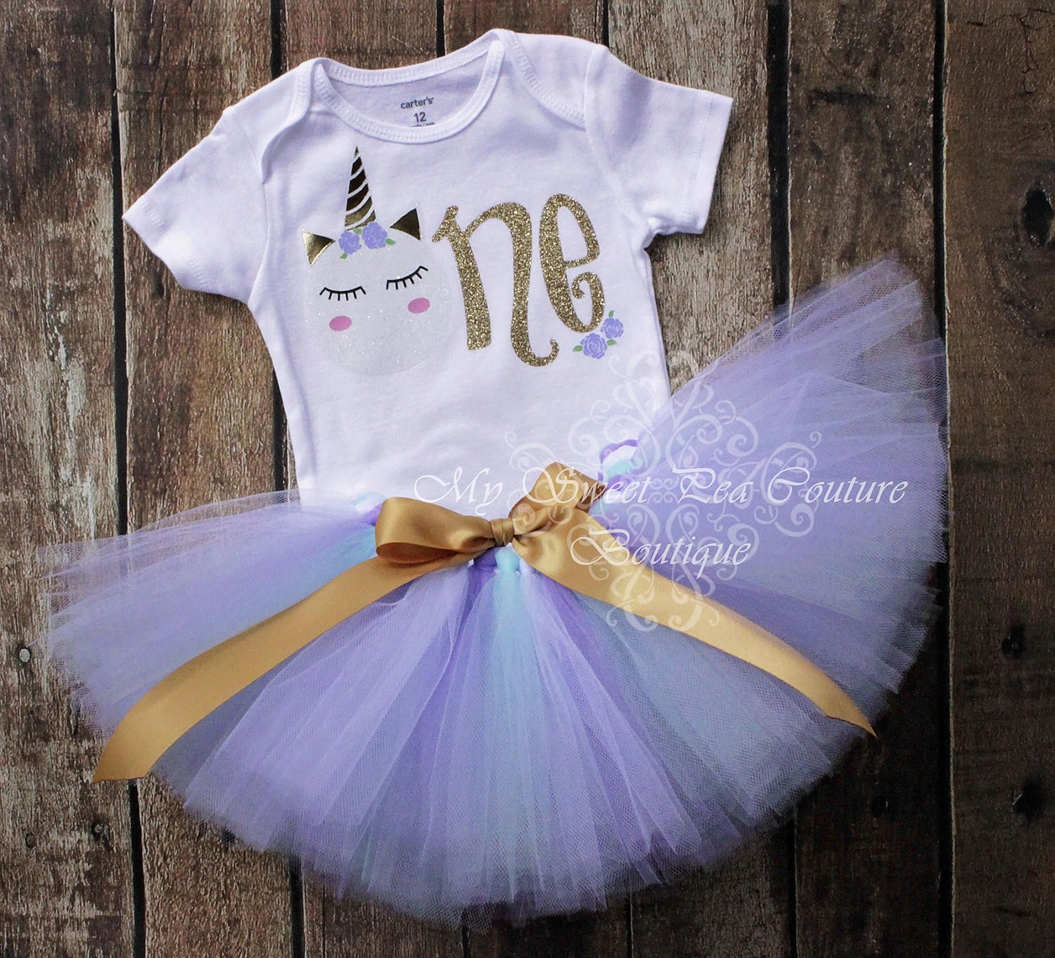 Unicorn First Birthday Tutu Outfit- Cake Smash Outfit- 1st