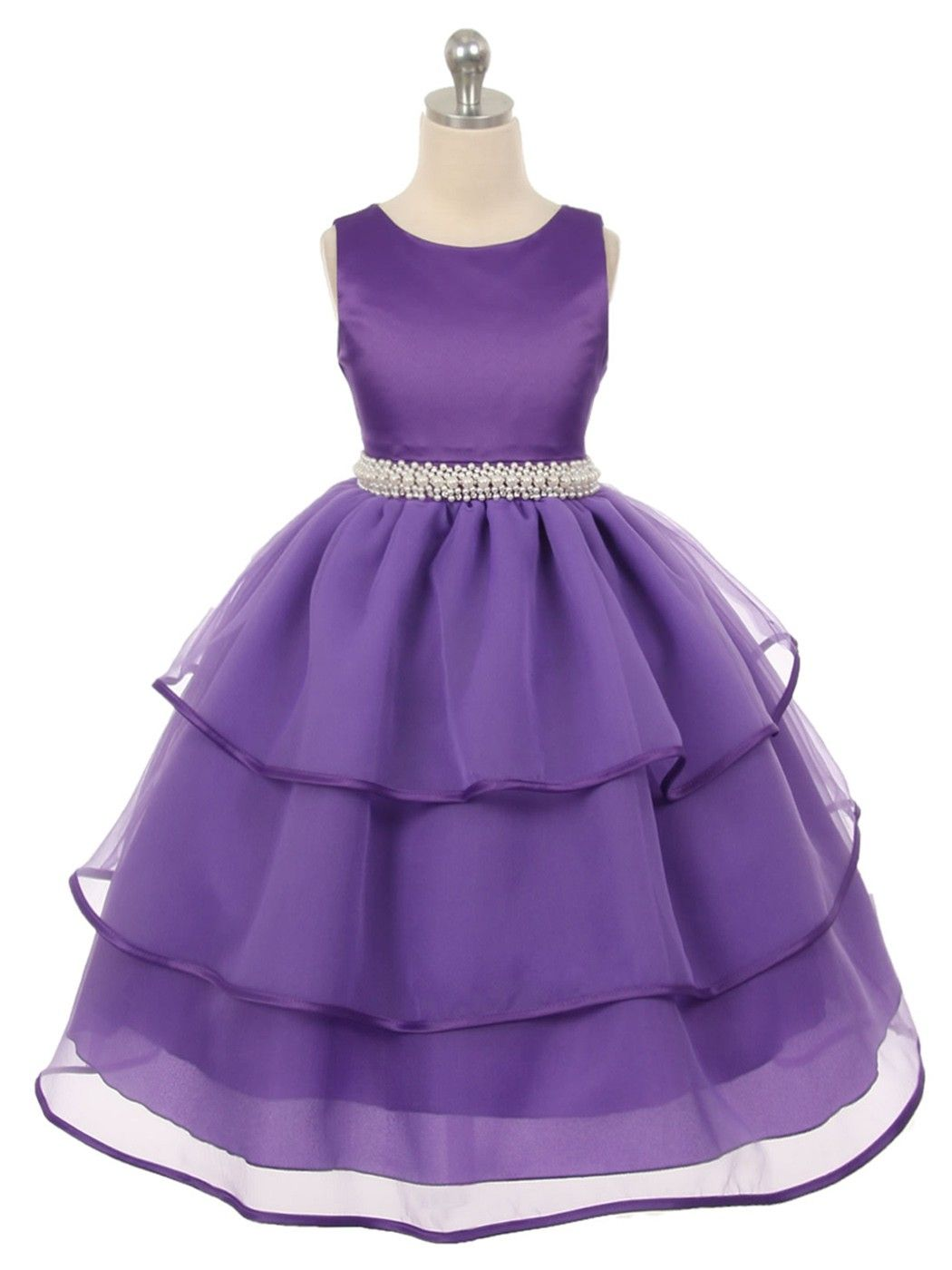 Purple Fabulous Satin and TulleFlower Girl Dress (Available in Sizes ...