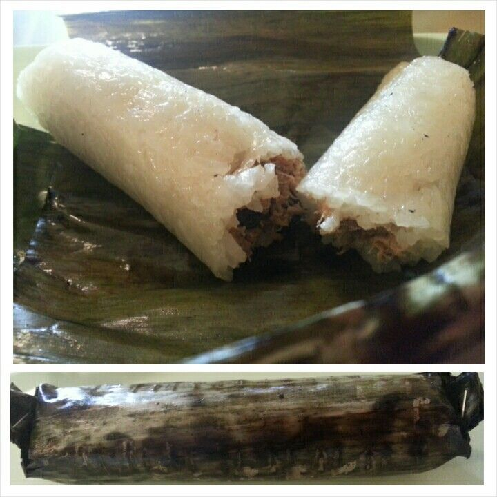 Indonesia Traditional Snack Gogos Sticky Rice Filled Fish Floss Wrapped With Banana Leaf Originally From Makassar South Sulawesi I Found This Snack Wh