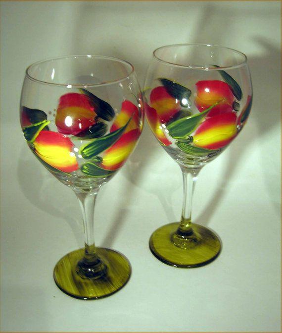 Tulip Hand Painted Wine Glasses