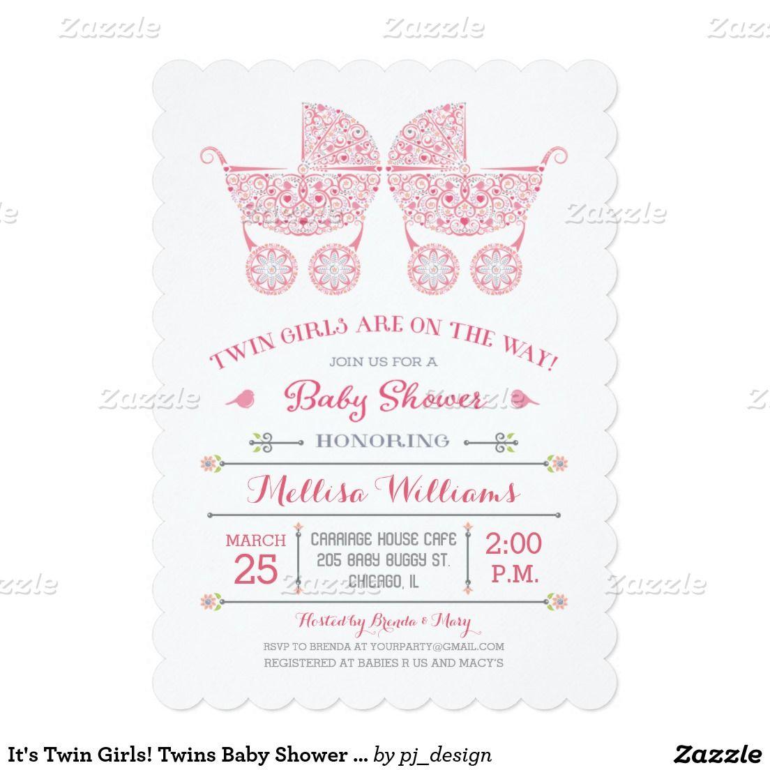 It\'s Twin Girls! Twins Baby Shower Invitation | Baby Shower ...