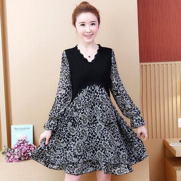 Fake Two Pieces Leopard Chiffon Long-sleeved Dress