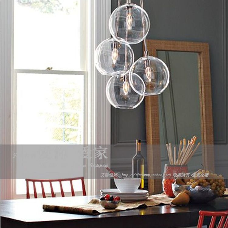 American Cluster Glass Pendant Transparent Round Ball Personalized Fashion Vintage Light InPendant Lights