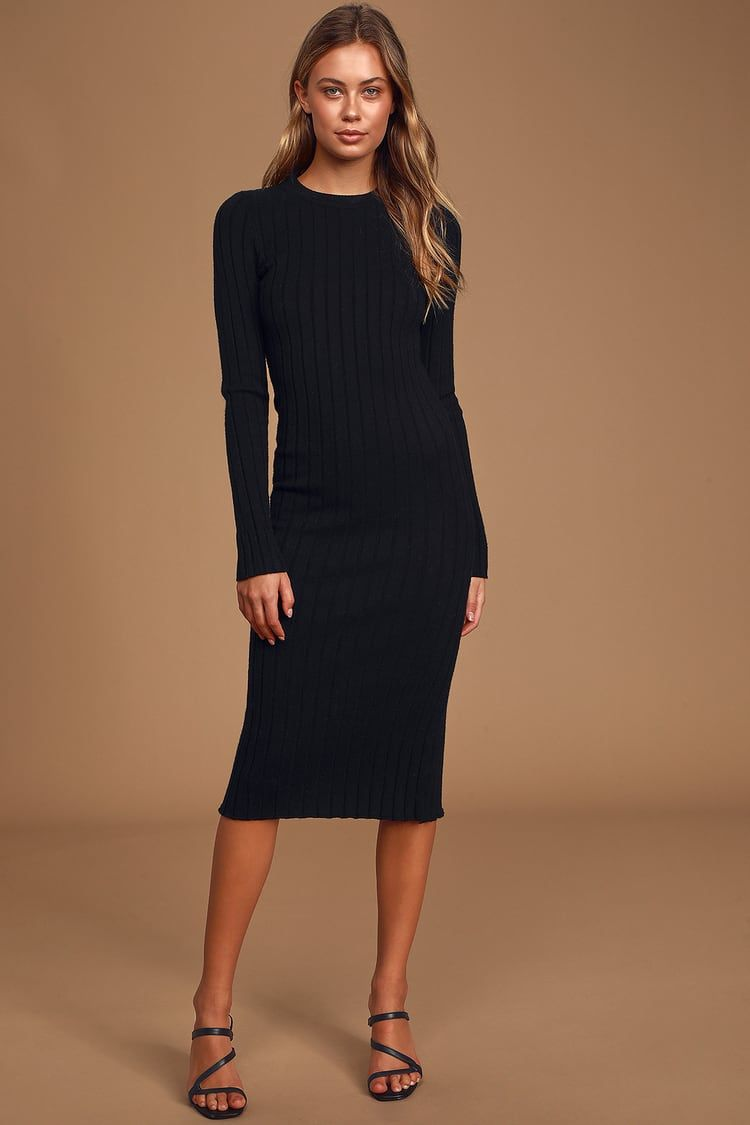 The Best Yet Black Ribbed Bodycon Sweater Dress Bodycon Sweater Dress Cute Black Dress Sweater Dress [ 1125 x 750 Pixel ]