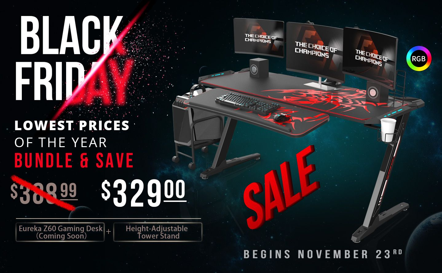 Bundle Save On Black Friday Biggest Sale Of The Year On Sit Stand Desks Ergonomic Chairs And Gaming Desks Black Friday Gaming Desk Black