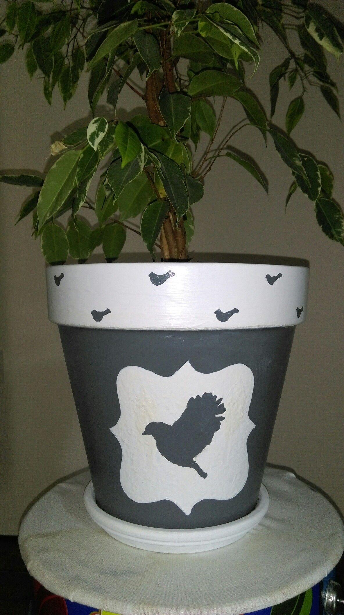 Pot Fleur Terre Cuite Gris Et Blanc Motif Oiseaux Pots Terre Cuite