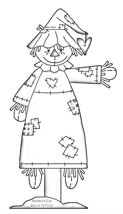 A Fun Scarecrow Clipart And Coloring Page Carimbos Digitais