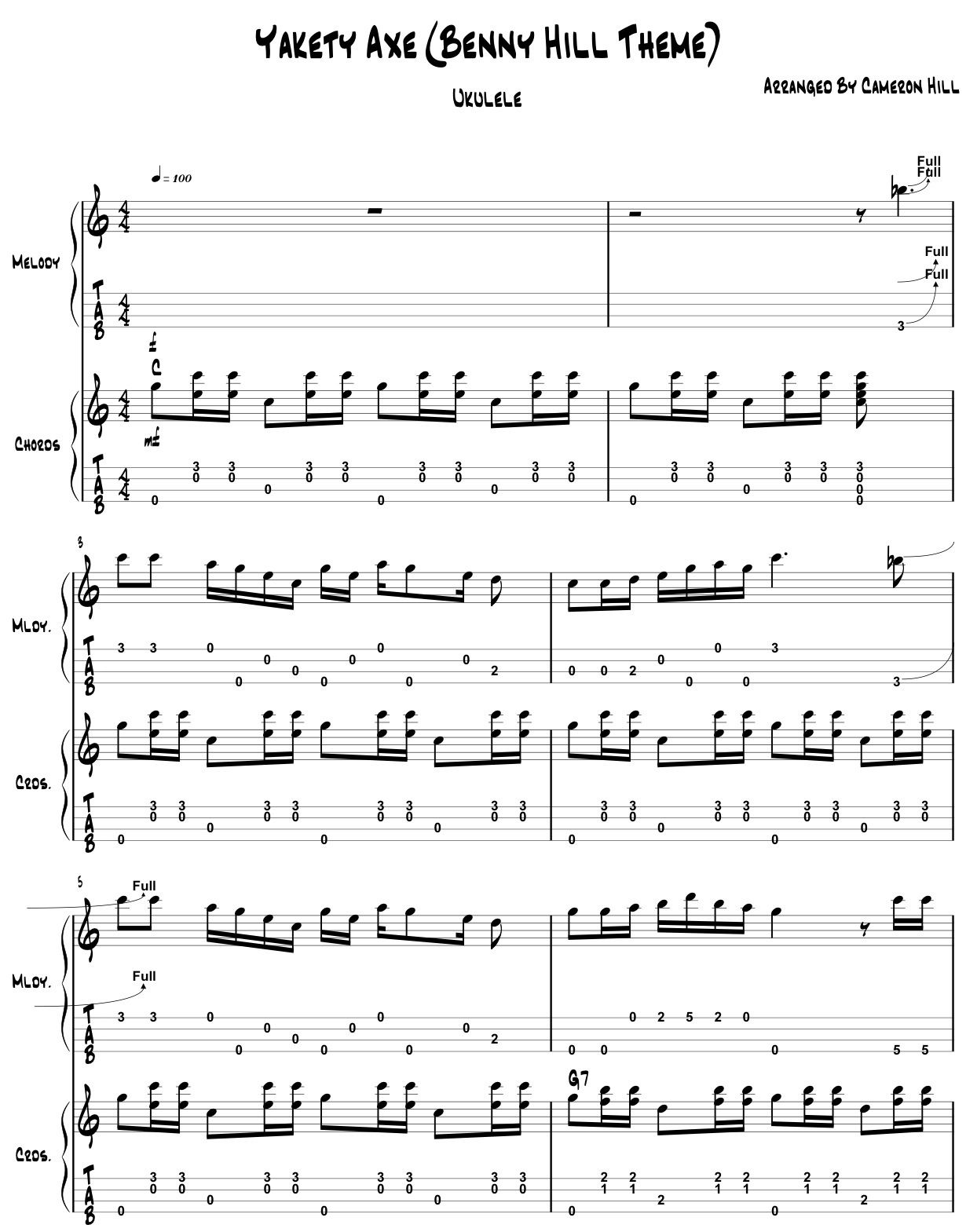 free pdf benny hill theme sheet music