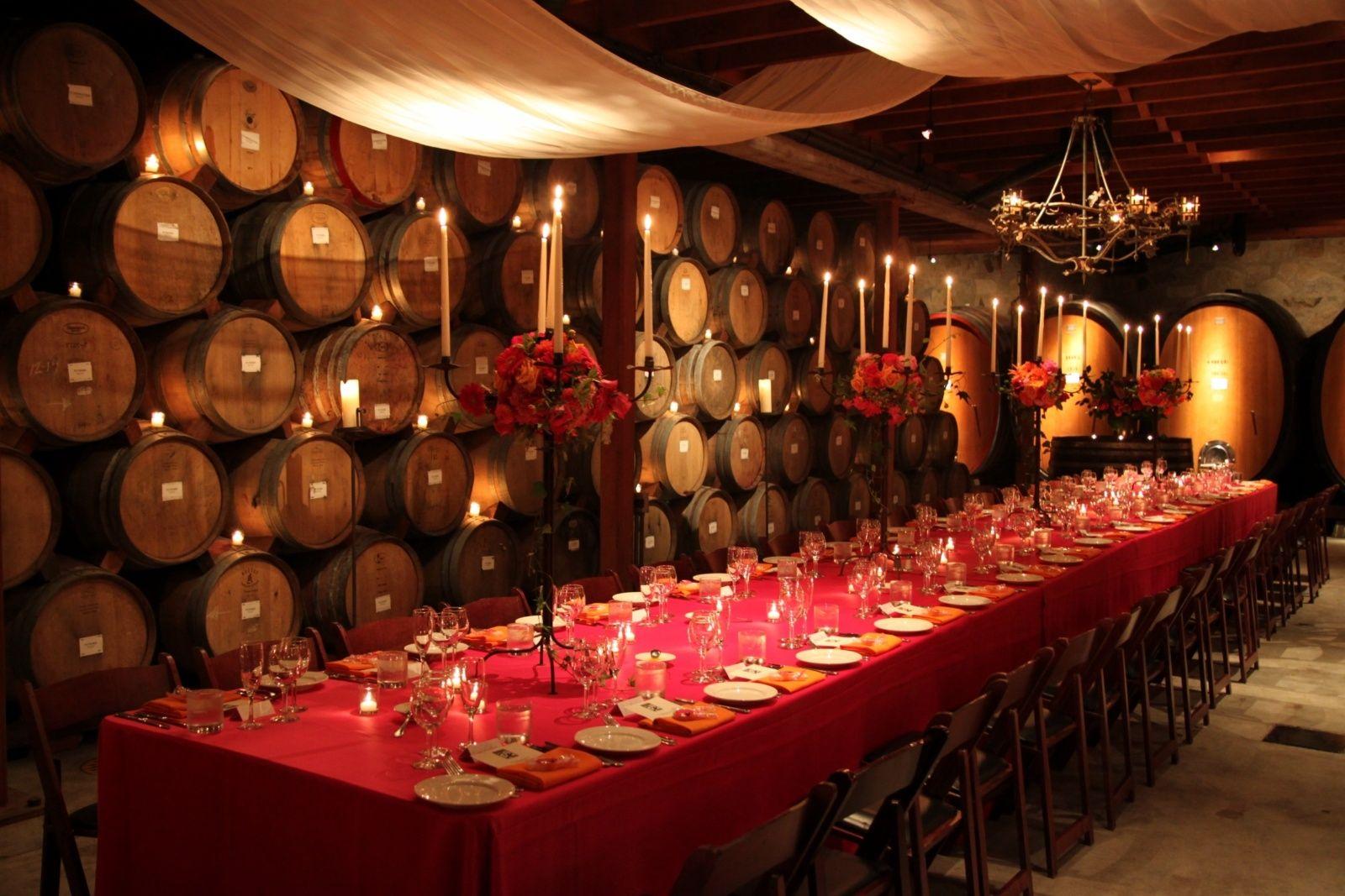 V Sattui Winery Wedding Head Table Wine Tasting Room Barrel Room Winery Tasting