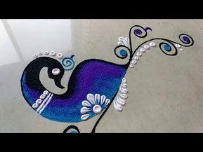 Latest Diwali special peacock rangoli design 2019