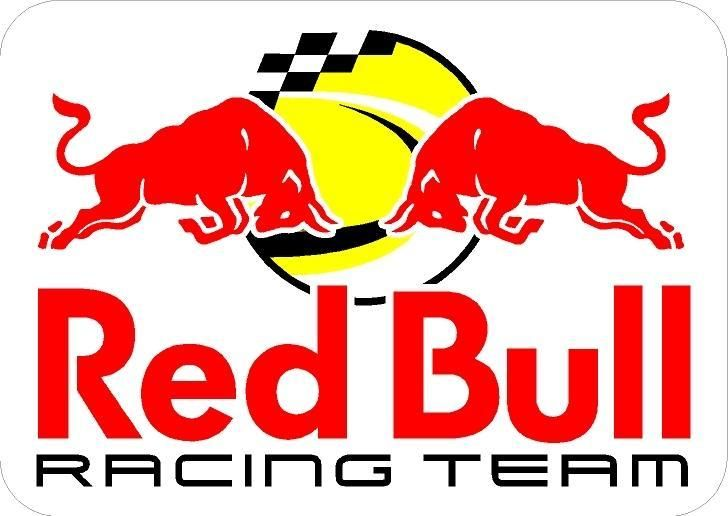 Red bull racing team decal easy peel and stick fuel and solvent resistant size 90 x 90 mm